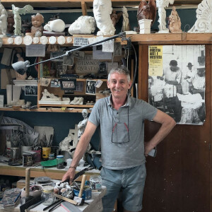Man in sculpture studio